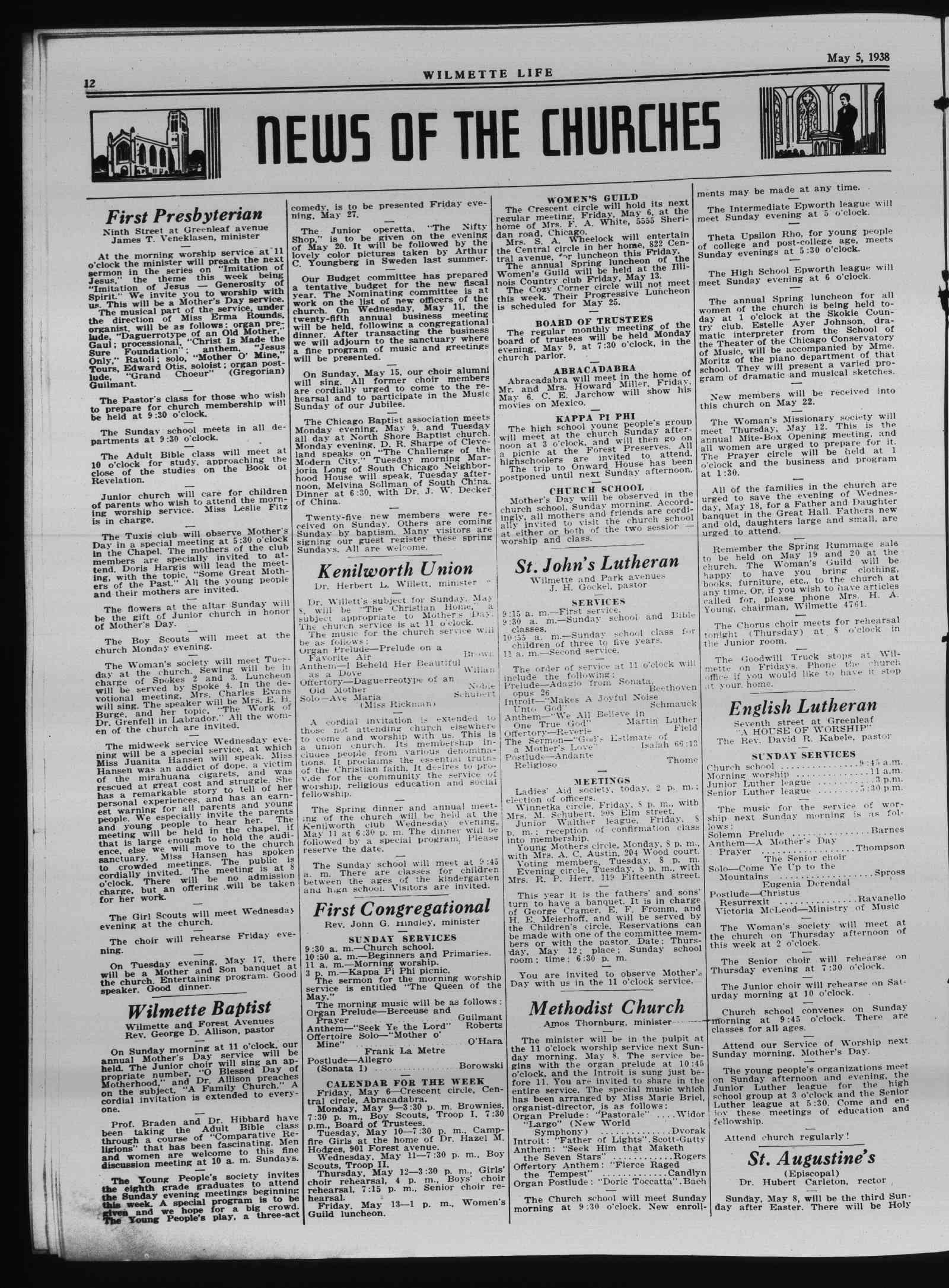 Wilmette Life (Wilmette, Illinois), 5 May 1938