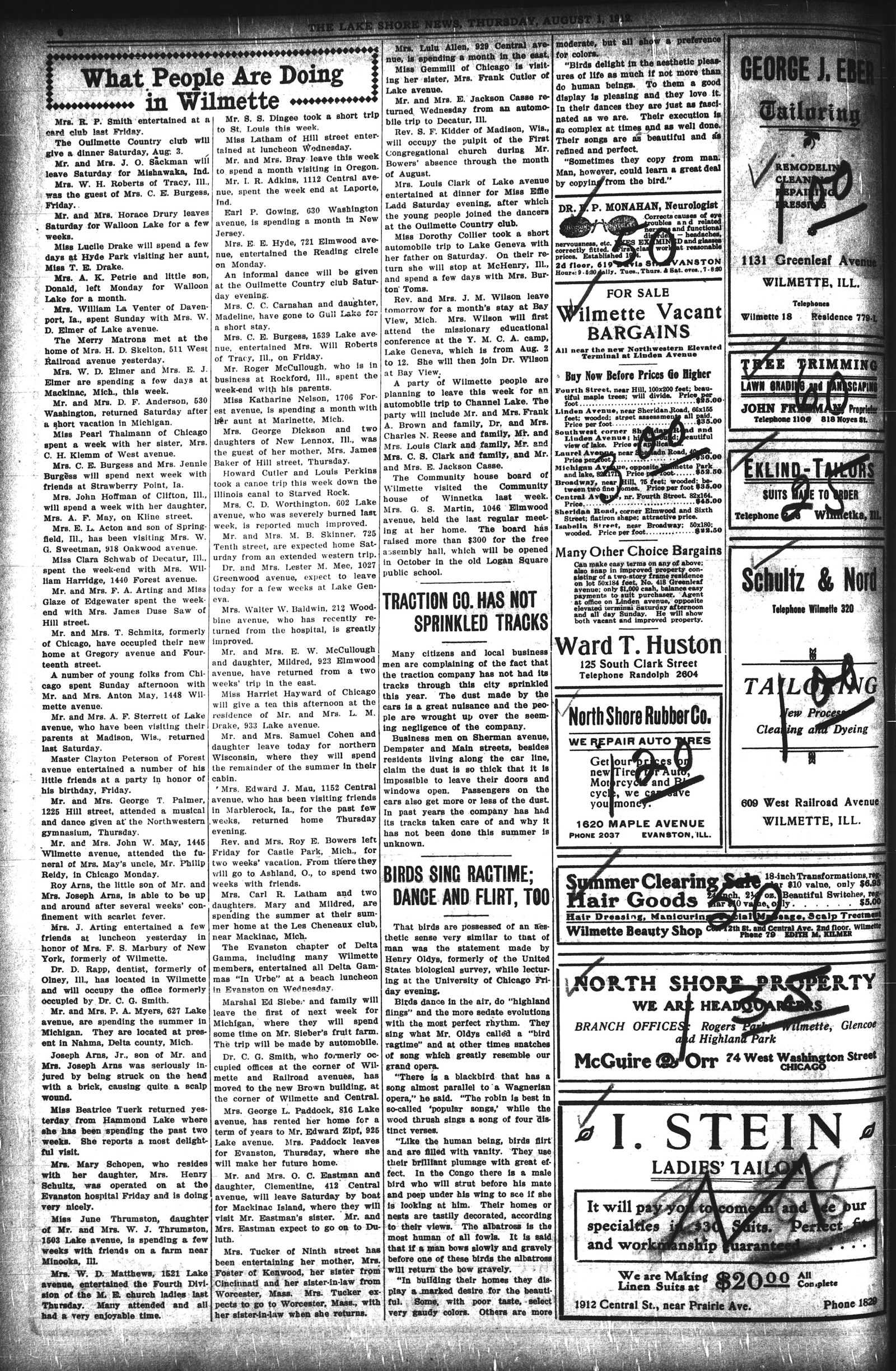 Lake Shore News (Wilmette, Illinois), 1 Aug 1912