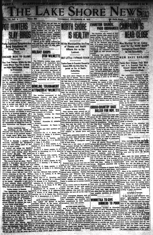 Lake Shore News (Wilmette, Illinois), 21 Nov 1912