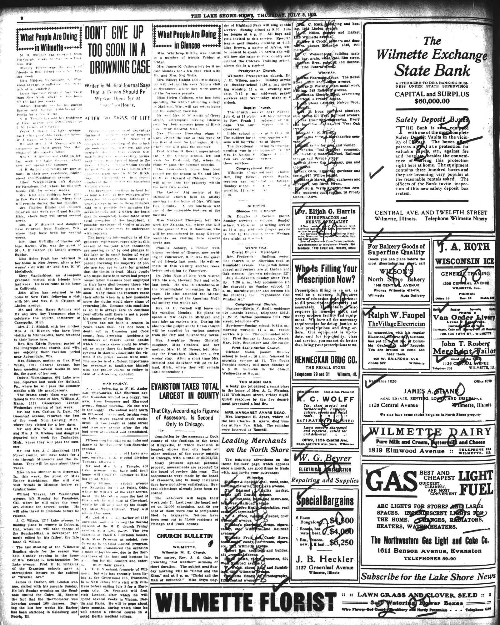 Lake Shore News (Wilmette, Illinois), 3 Jul 1913