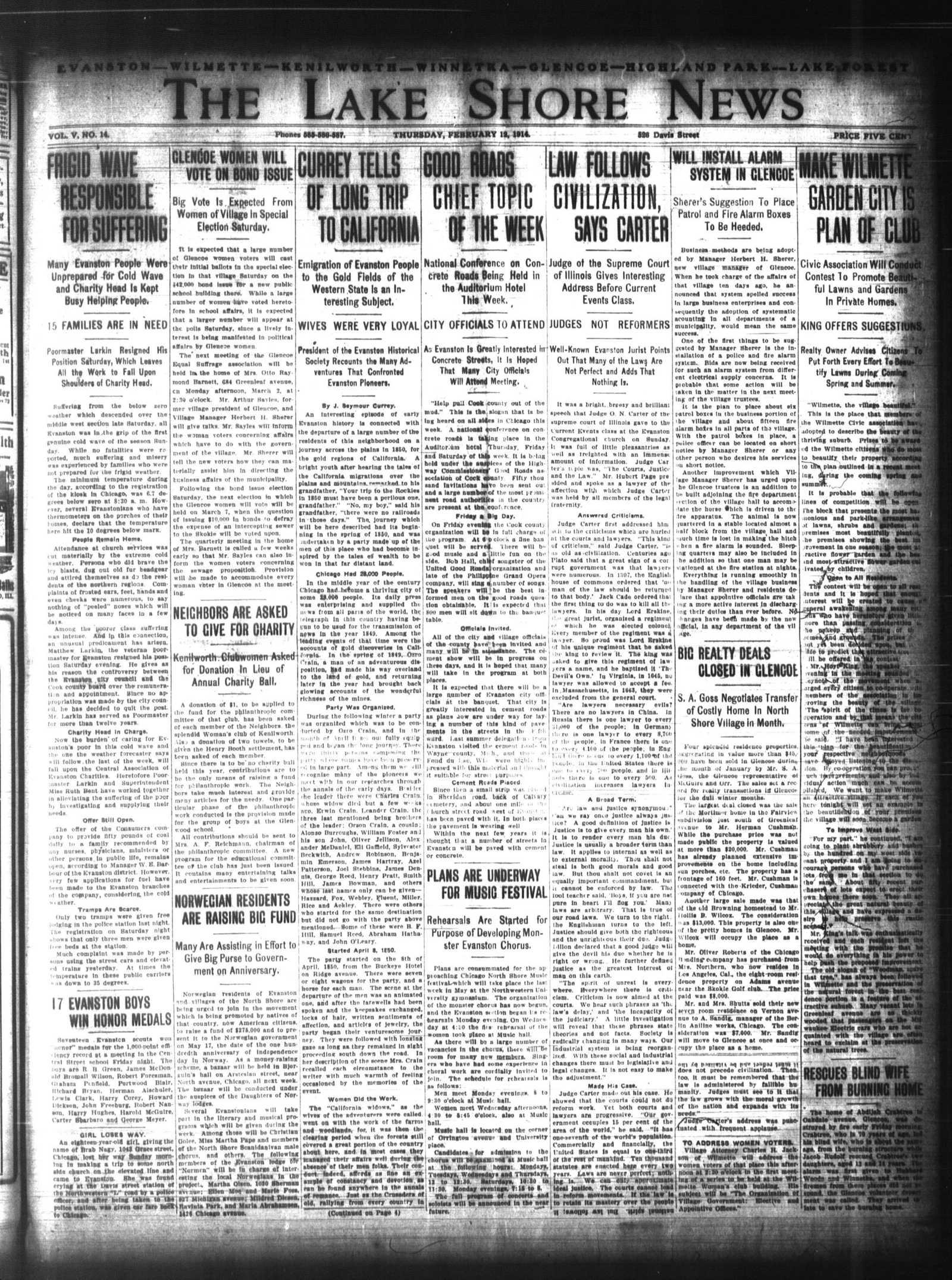 Lake Shore News (Wilmette, Illinois), 12 Feb 1914