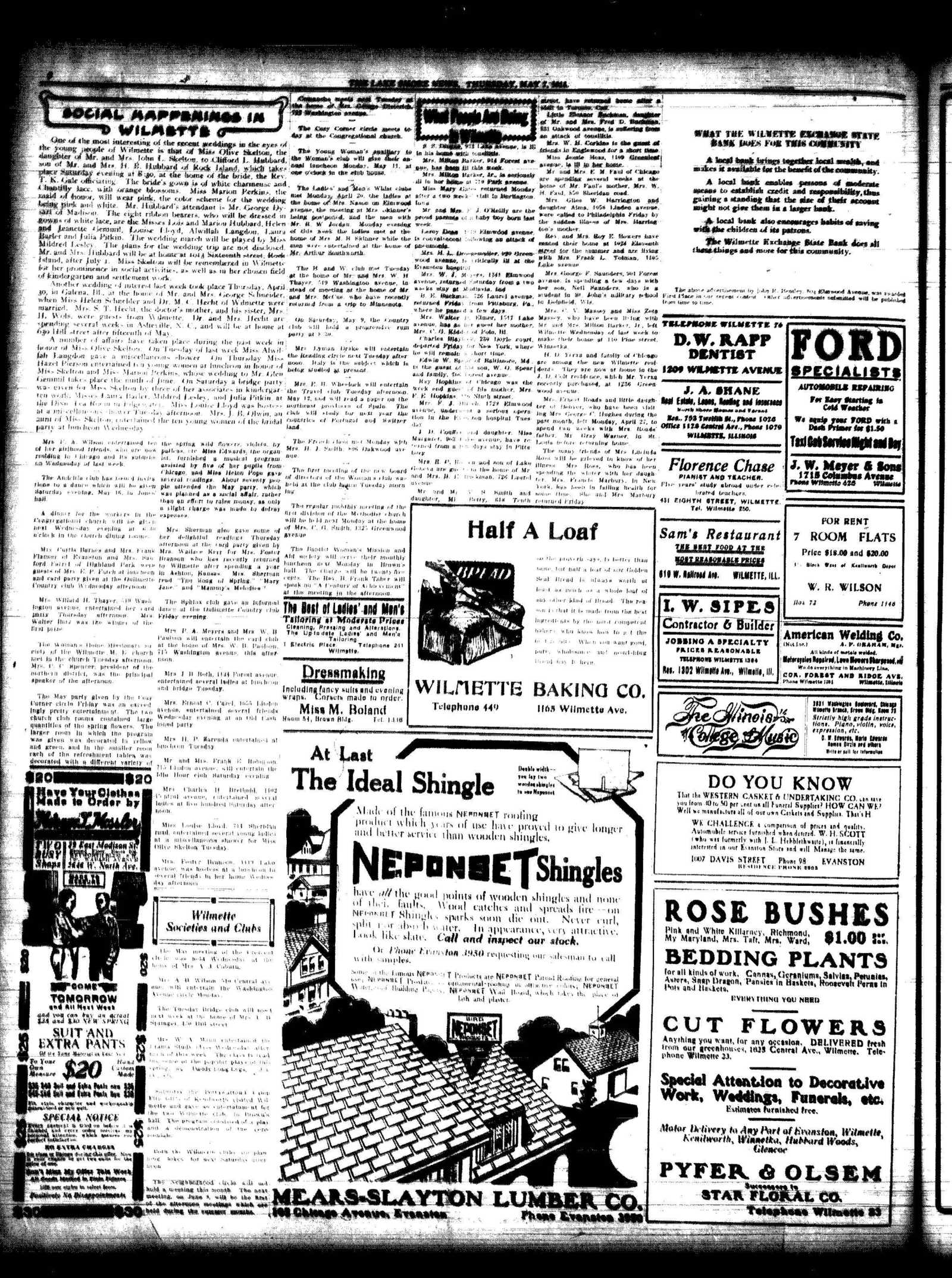 Lake Shore News (Wilmette, Illinois), 7 May 1914