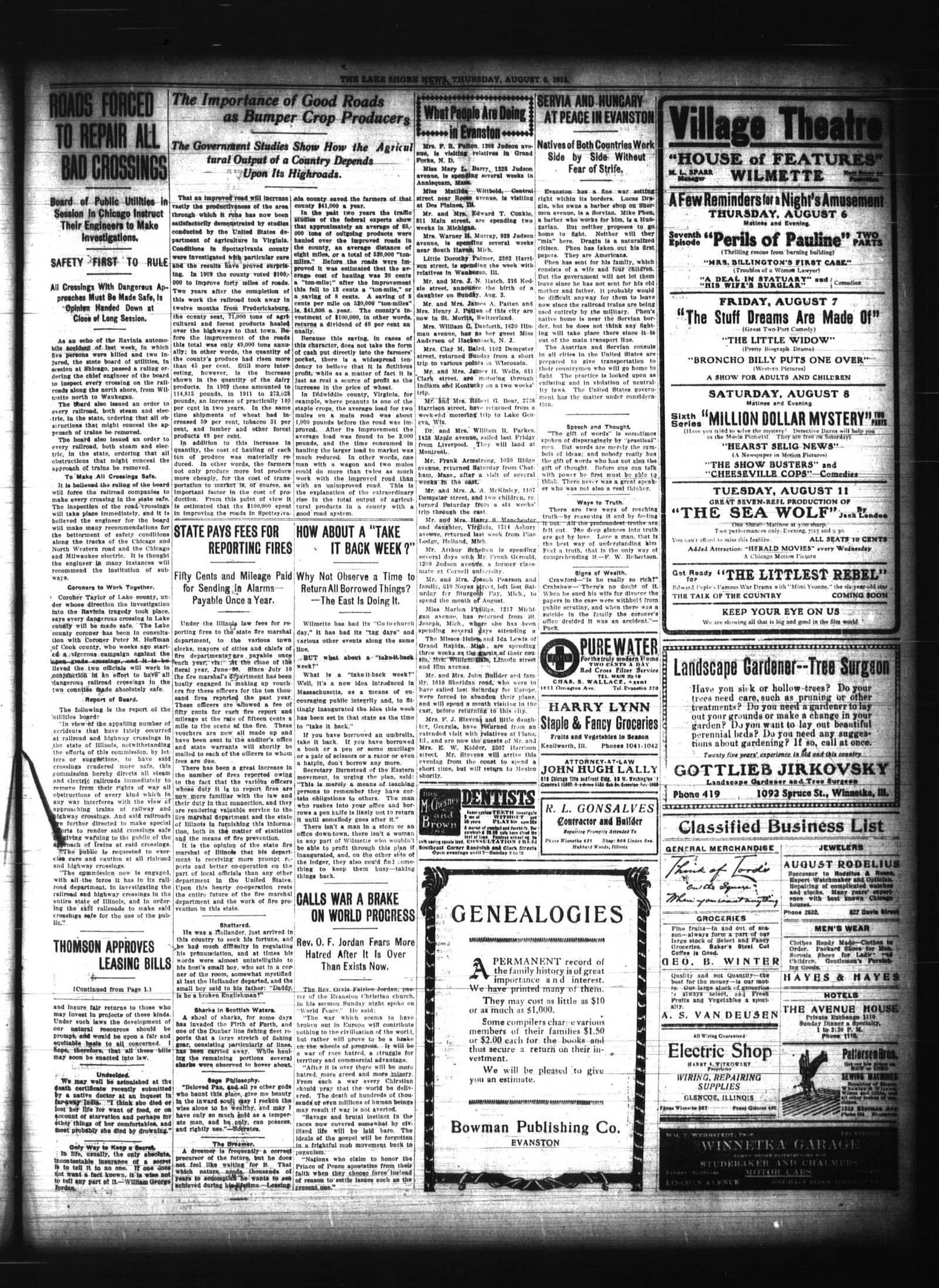 Lake Shore News (Wilmette, Illinois), 6 Aug 1914