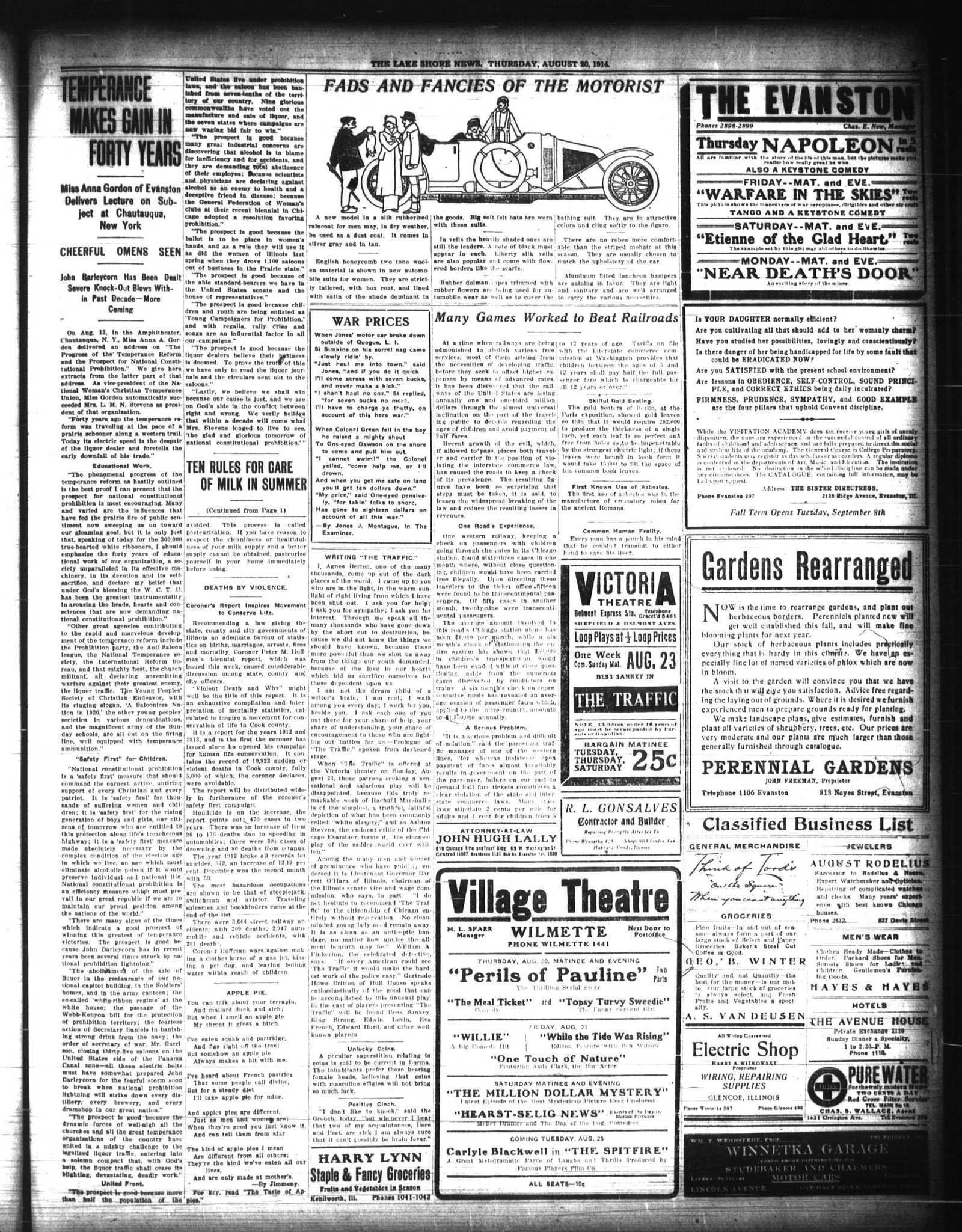 Lake Shore News (Wilmette, Illinois), 20 Aug 1914