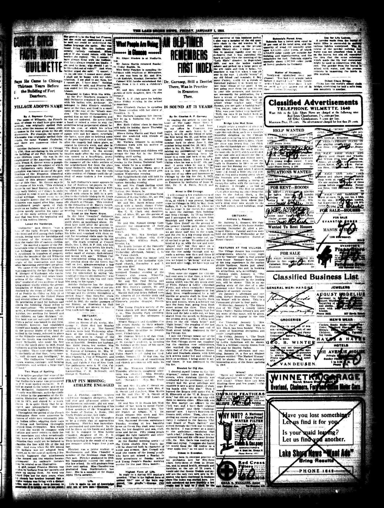 Lake Shore News (Wilmette, Illinois), 1 Jan 1915