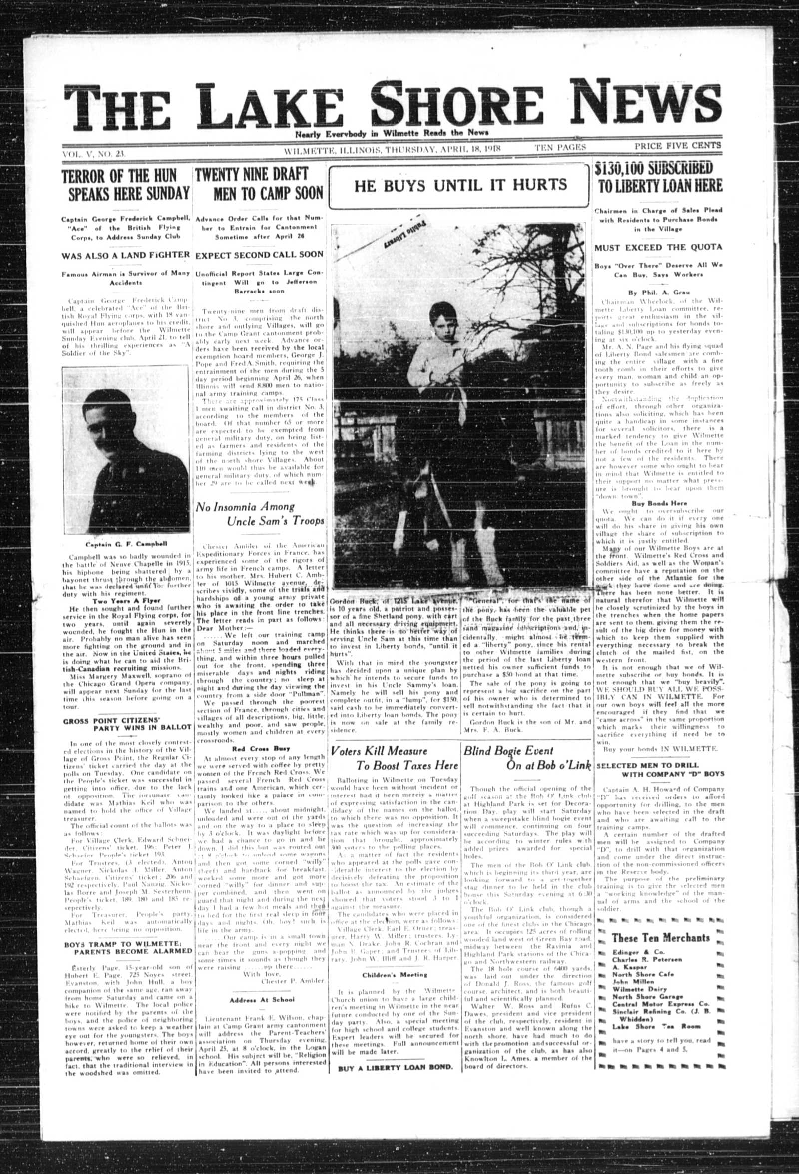 Lake Shore News (Wilmette, Illinois), 18 Apr 1918