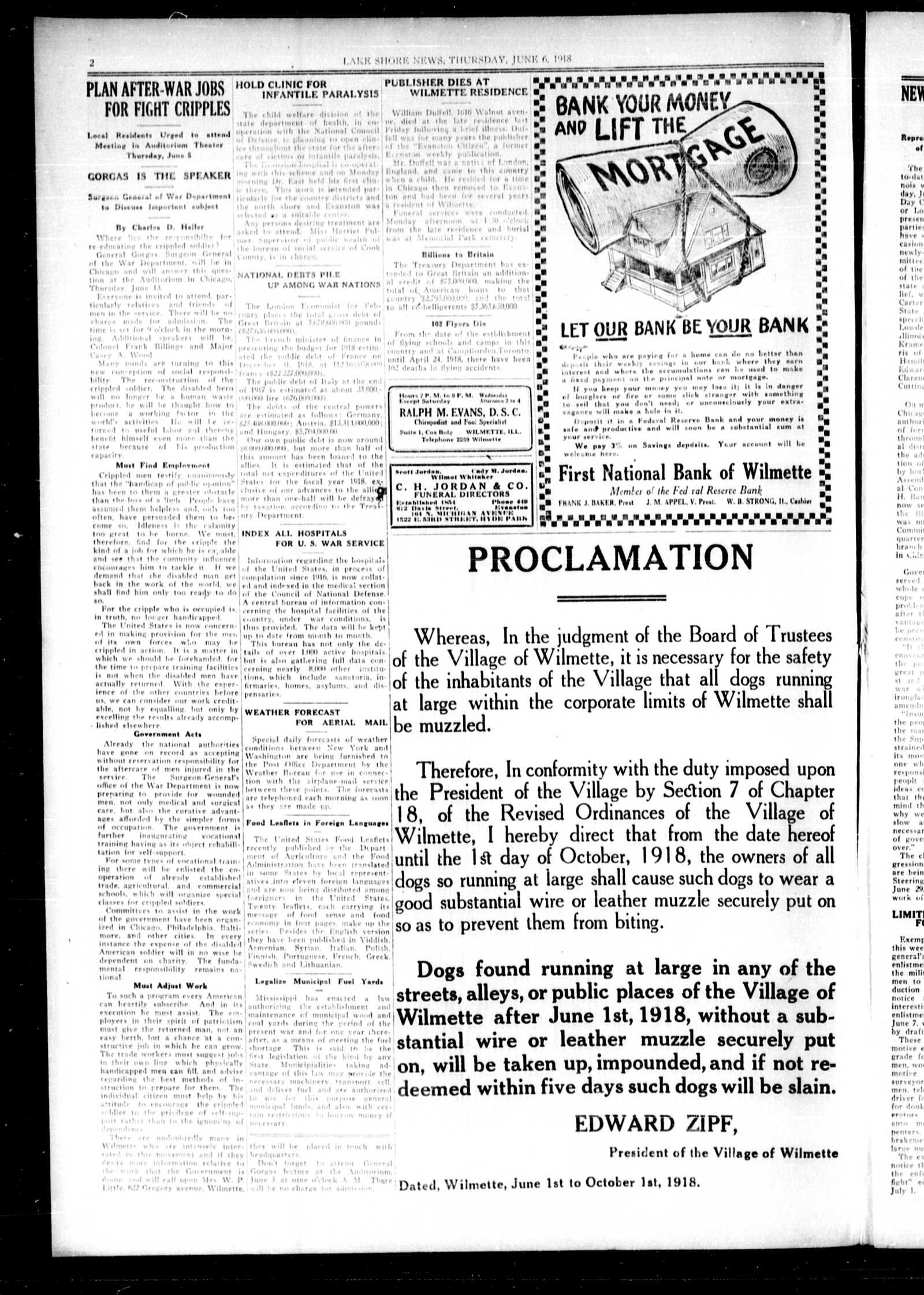 Lake Shore News (Wilmette, Illinois), 6 Jun 1918