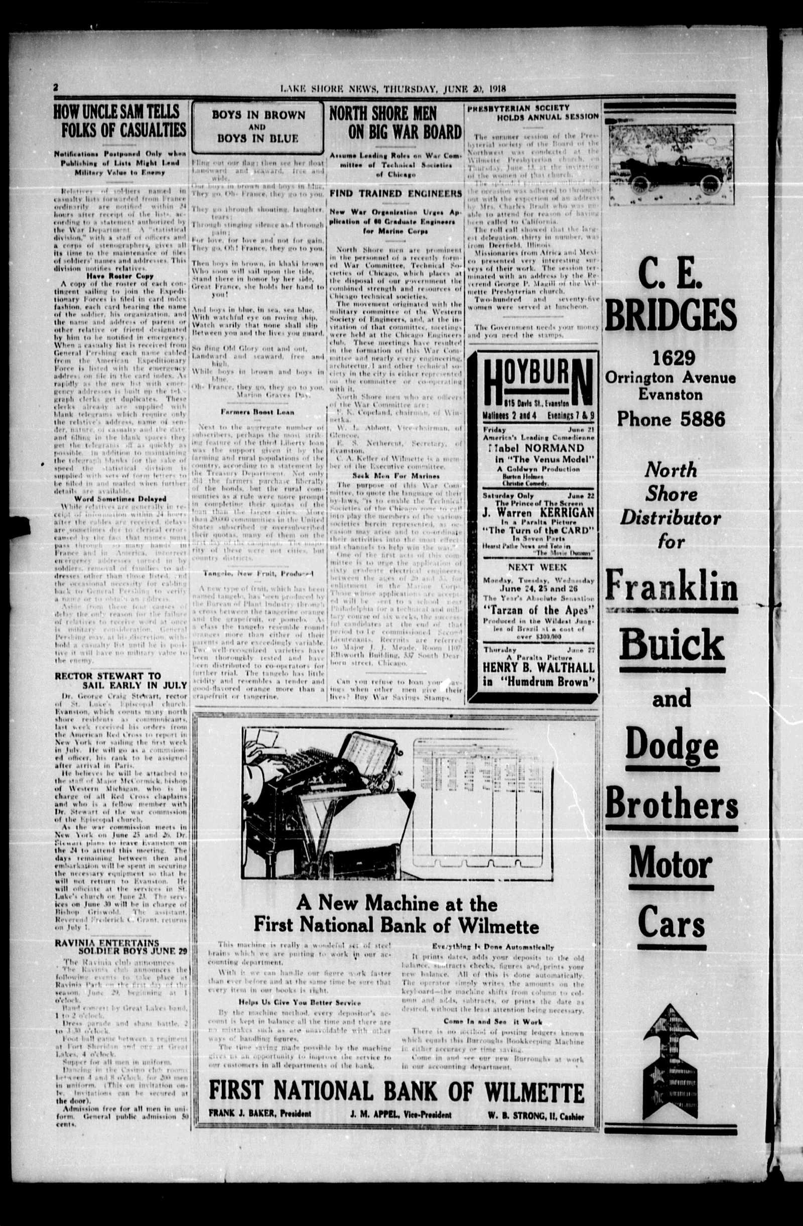Lake Shore News (Wilmette, Illinois), 20 Jun 1918
