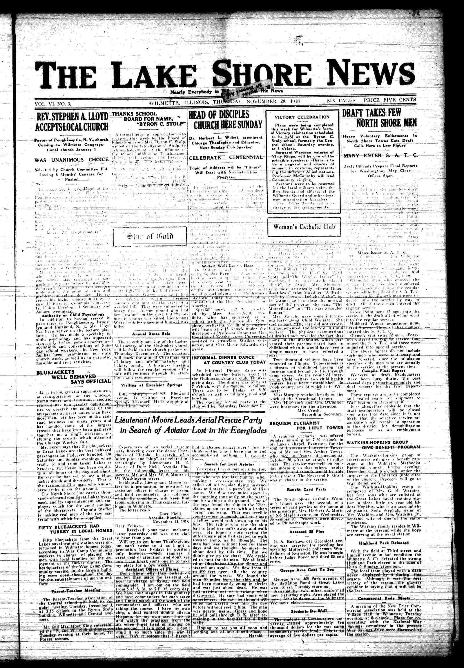 Lake Shore News (Wilmette, Illinois), 28 Nov 1918