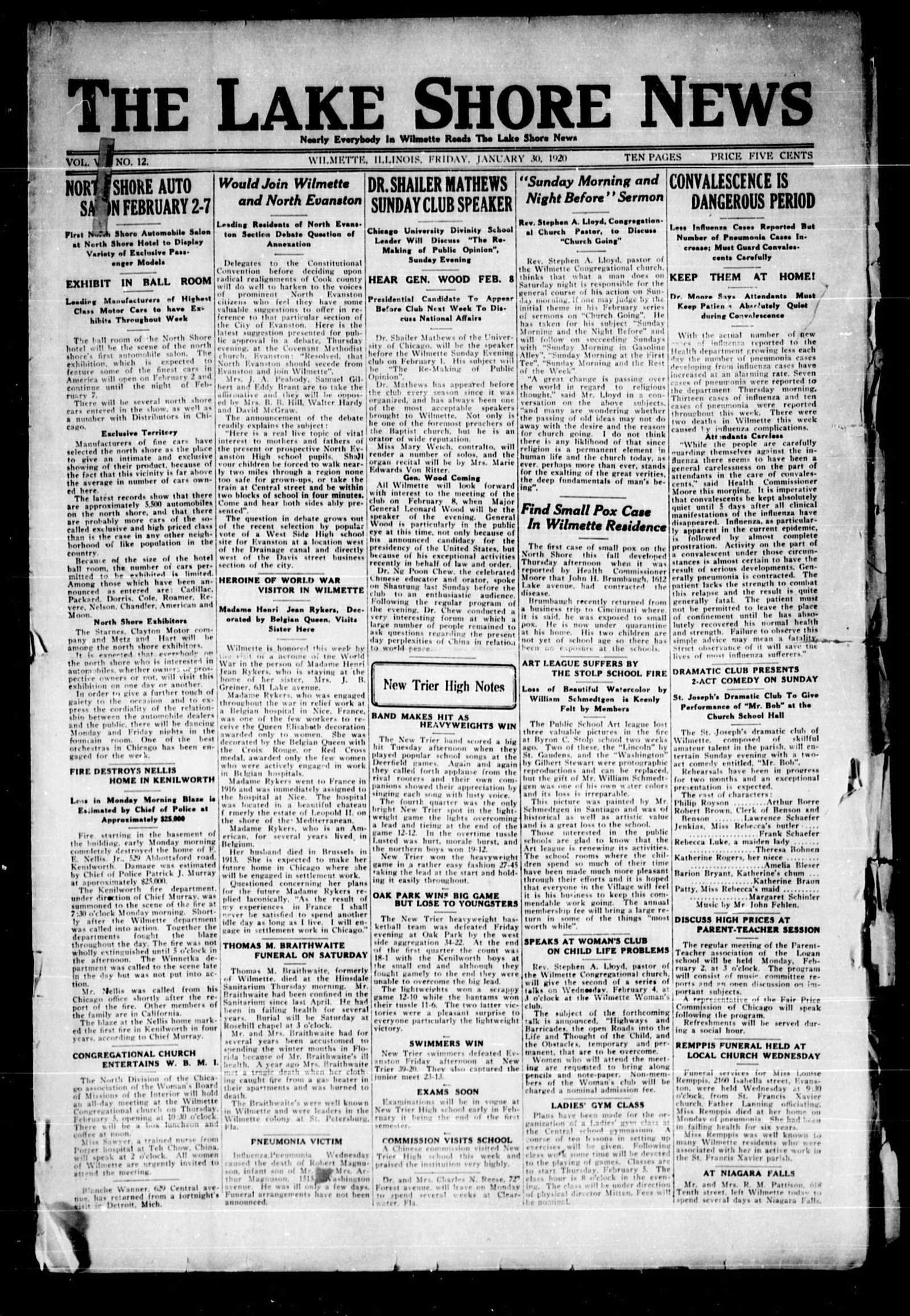 Lake Shore News (Wilmette, Illinois), 30 Jan 1920