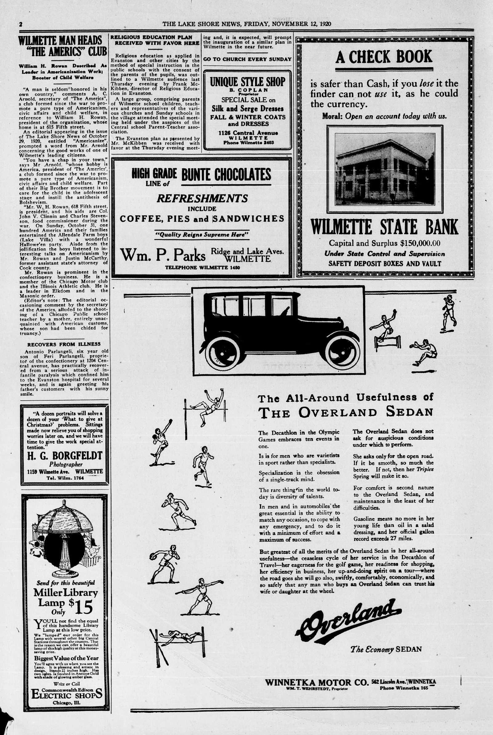 Lake Shore News (Wilmette, Illinois), 12 Nov 1920