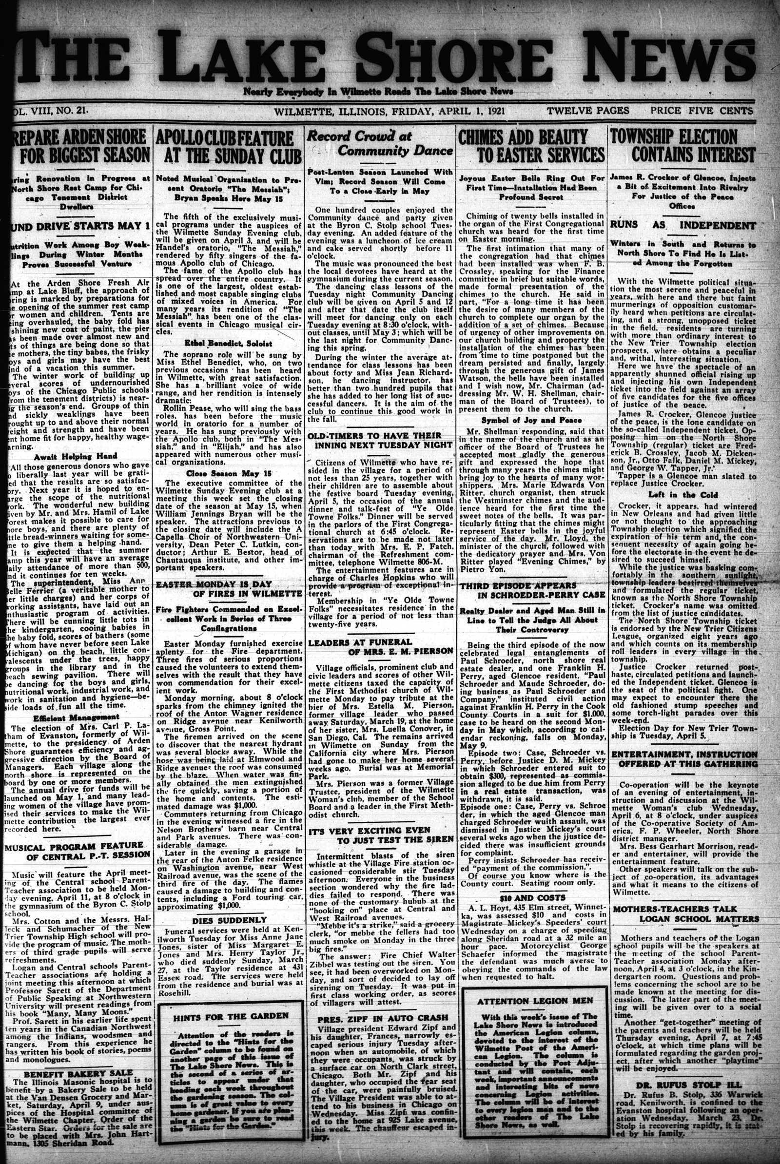 Lake Shore News (Wilmette, Illinois), 1 Apr 1921
