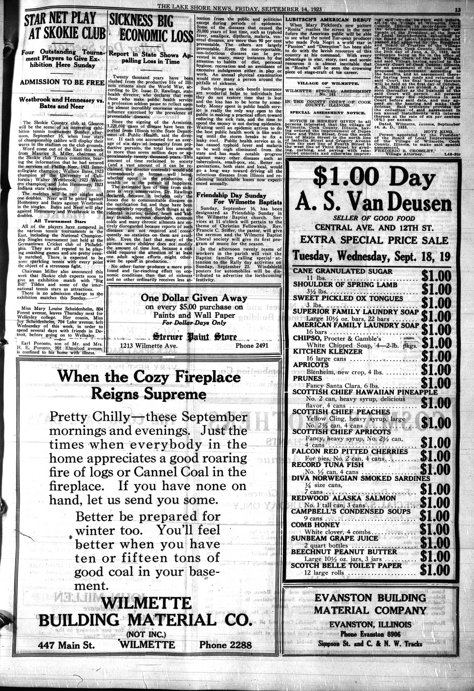 Lake Shore News (Wilmette, Illinois), 14 Sep 1923