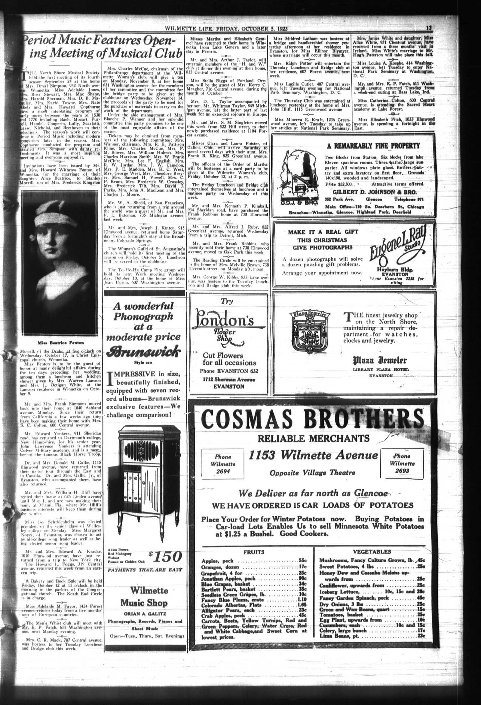Wilmette Life (Wilmette, Illinois), 5 Oct 1923