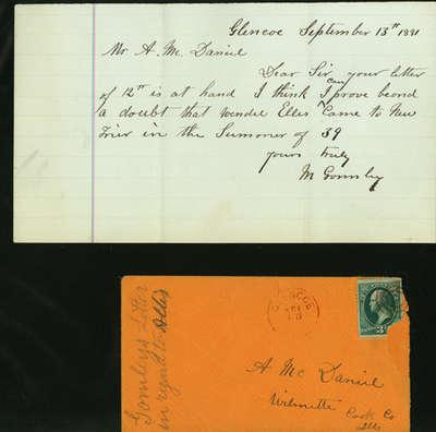 Letter written by M. Gormley to Alexander McDaniel September 13, 1881