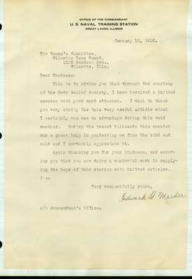 Letters from Soldiers of World War I to the  Woman's Committee of the Wilmette Guard: 1917-1919