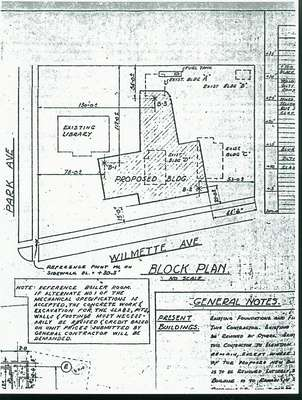 Map showing locations of the existing and proposed library buildings on the corner of Park and Wilmette Avenues in Wilmette in 1950.