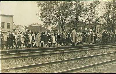 Waiting for President Roosevelt's train
