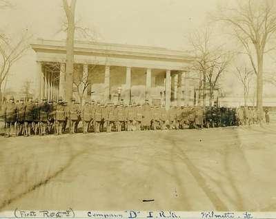Wilmette Guard on review beside Wilmette Village Hall