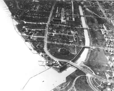 Aerial view of Lake Michigan at Wilmette, Illinois, 1930