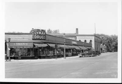 Lyman Drugs northwest corner of Wilmette and Central Avenues, Wilmette, Illinois, 1948.