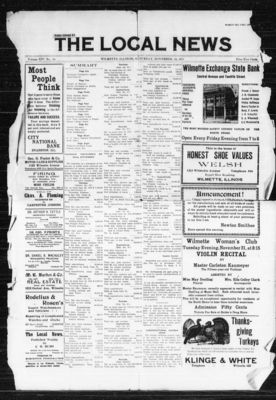 Local News, 18 Nov 1911