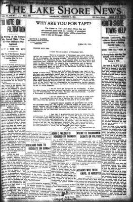 Lake Shore News (Wilmette, Illinois), 31 Oct 1912