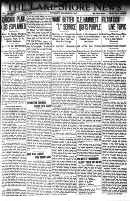 Lake Shore News (Wilmette, Illinois), 5 Dec 1912