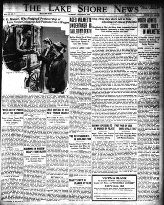 Lake Shore News (Wilmette, Illinois), 2 Oct 1913