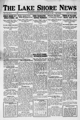 Lake Shore News (Wilmette, Illinois), 19 Nov 1920