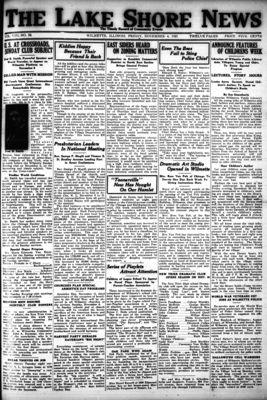 Lake Shore News (Wilmette, Illinois), 4 Nov 1921