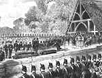Funeral of Canadian Volunteers Killed in a Skirmish with the Fenians: Scene in             the Cemetery at Toronto.