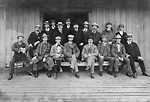 WORLD PROFESSIONAL SCULLING CHAMPIONSHIP, Rat Portage (Kenora), September, 1901.             Group portrait of spectators, reporters, etc., including John Sinclair Robertson, second             seated from left.