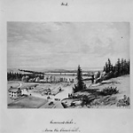 Cameron Lake, from the Church Hill (Fenelon Falls, Ontario) in 1858.