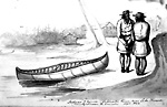 Indians and Canoe, Coldwater River, Coldwater, Ontario.