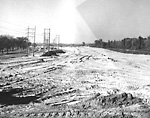 GARDINER EXPRESSWAY, looking w. from Parkside Drive overpass, during             construction.