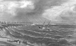 PACIFIC, schooner; rescue of crew by Thomas Tinning; looking s.e. from shore             near High Park.