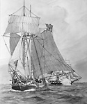"Schooner ""Lord Nelson"", Being Captured by the American Brig of War ""Oneida"" off             Niagara-on-the-Lake, Ontario, 5 June 1812."