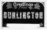 Greetings from Burlington -- block lettering filled with photograph collage