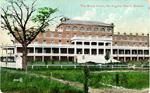 Hotel Brant, Burlington Beach, Ontario -- Exterior, large tree at west end; postmarked June 8, 19??
