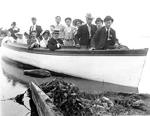 "Filman Family -- ""Boating on the Bay""; Frank Easterbrook, Percy Filman, Will Scheer, Will Filman, H. Emery, Ruth Johnson, Maude Bowen, Millie Johnson"