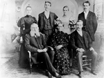 Peart Family -- back row: Annie Peart Smale, Morley Clinton Peart, Eva Peart, Chester Peart. front row: Jacob Peart, Jane Easterbrook, W.E. Peart