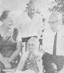 Peart Family -- Mrs. Annie Smale, centre with (l-r): Mary Smale, Roy Smale, Russel Smale, 1963