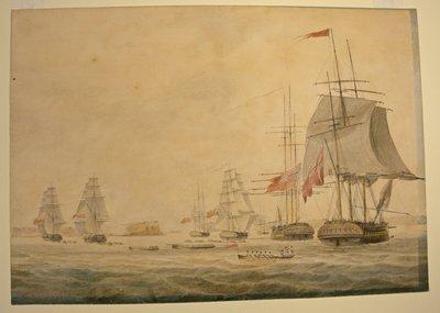 The Attack on Fort Oswego, Lake Ontario, 1814. By John Thomas Serres