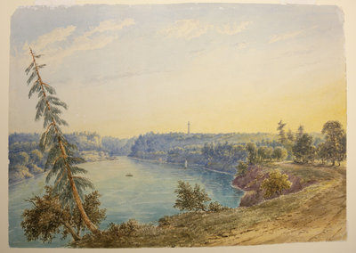 Niagara River at Queenston with Brock's Monument.  By John Herbert Caddy