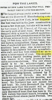 AUGUSTA (1889, Yacht)