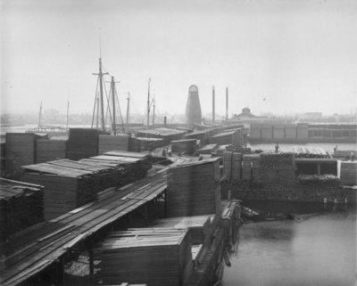 Lumber Stacks Along Thunder Bay River