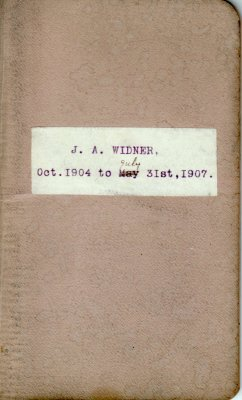 J.A. Widner Lumber Account Book