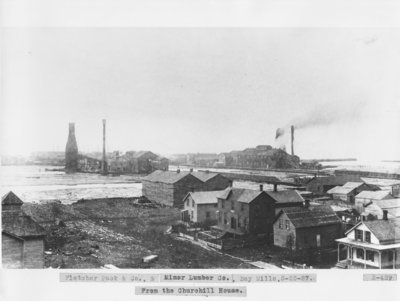 Fletcher, Pack & Co. and Minor Lumber Co. at the mouth of the Thunder Bay River in Alpena, Michigan