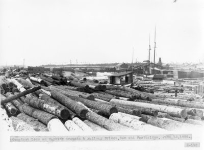Comstock Lumber Mill Log Bank on Thunder Bay River and Schooner SEA BIRD